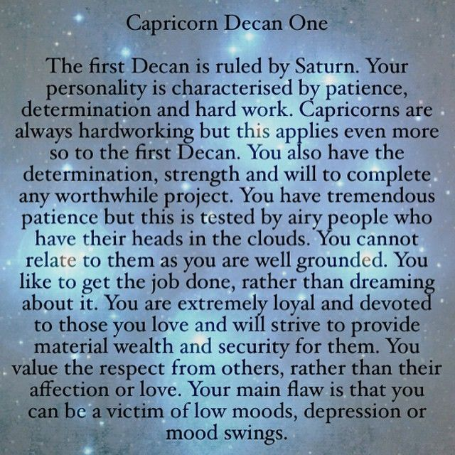 Image result for capricorn decans | astrology  | Capricorn sign