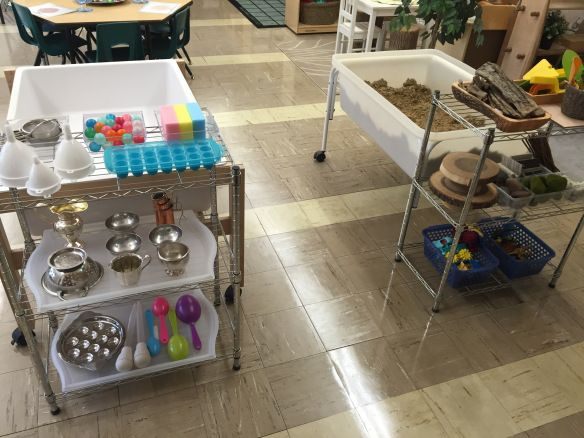 Sensory tables: sand and water centres. The Curious Kindergarten.