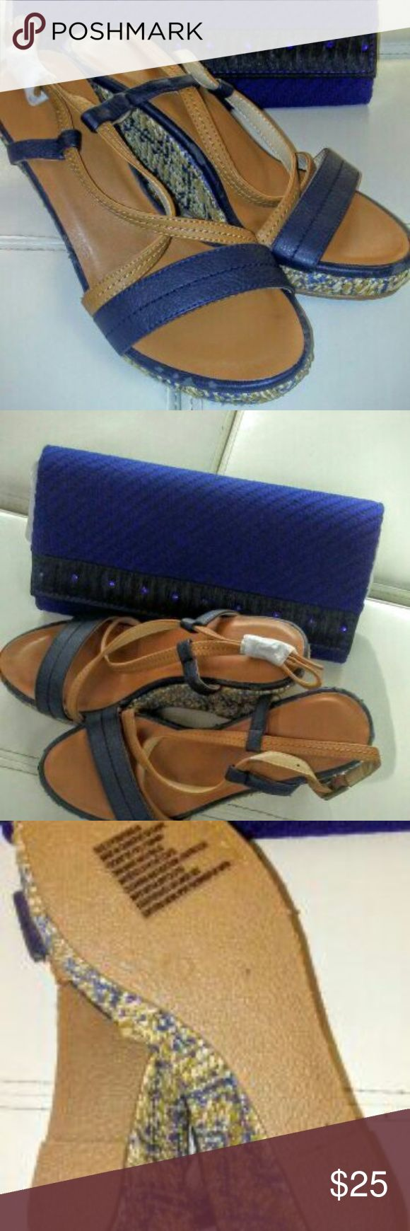 1pr Blue leather stripped peep toe wedge sandals 1pr Blue leather stripped peep toe wedge sandals,3 1/2 heel Shoes Wedges