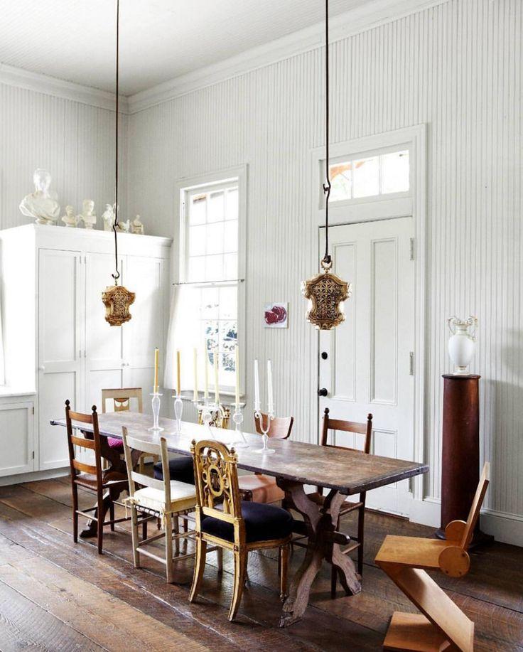 Random chairs. Low lights. Long table.