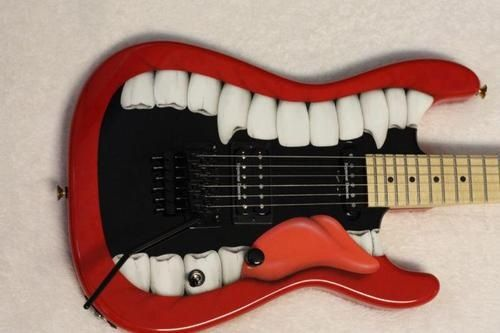 "Custom Guitar ""Let me sing while you play"" (wait, there's something between your teeth)."