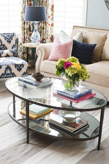 blue lamp shade on flowered base--master bedroom idea