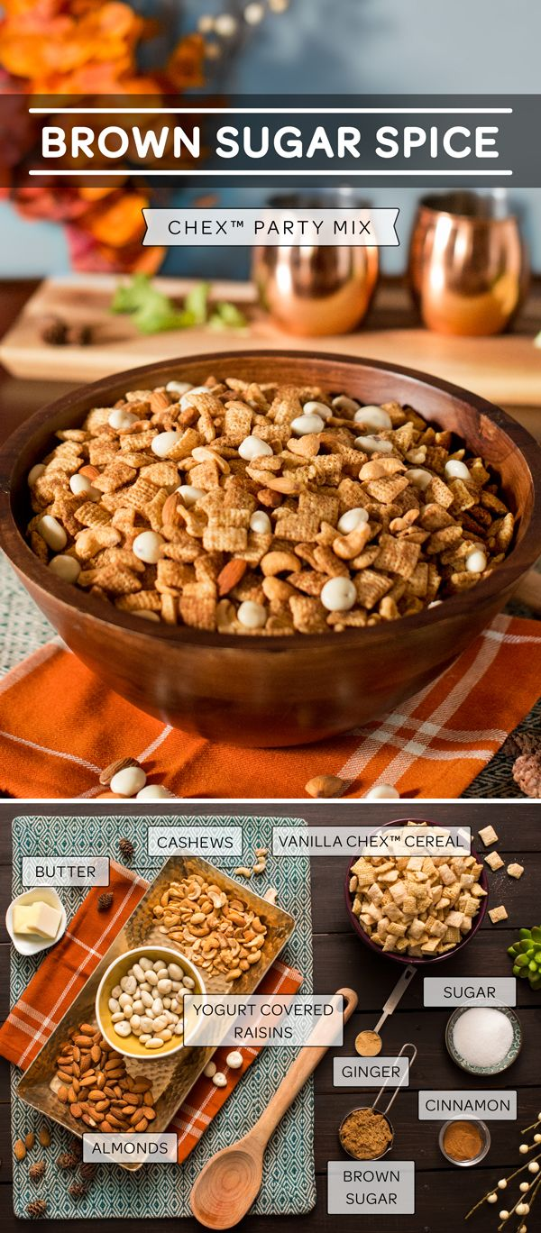 Brown Sugar Spice… and everything nice! This comforting recipe for homemade Chex Mix combines Vanilla Chex Cereal with roasted almonds and cashews, butter, brown sugar and is seasoned with ground cinnamon and ginger. Throw in half a cup of yogurt covered raisins and you have a treat everyone can enjoy. Tip: can also be made gluten free If you ensure all your ingredients are safe!