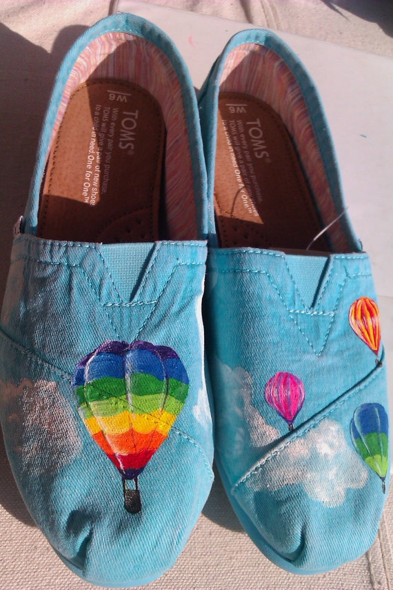 Hot Air Balloon Ride hand painted TOMS by PaintedLaceStudios, $90.00