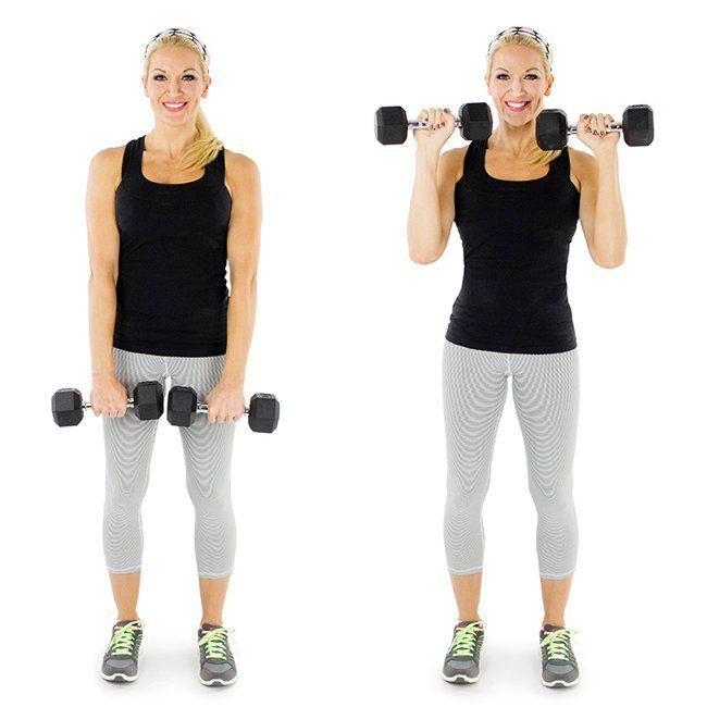 BICEPS - Reverse Bicep Curl:  Begin standing w/feet shoulder-width apart, palms face down on the tops of thighs, grasping a dumbbell in each hand.  While keeping your upper arms stationary, curl the weights up to shoulders by only moving the forearms.  In a controlled motion, begin to lower the dumbbells back down to the starting position.  Do this as many times as possible for 60 seconds.