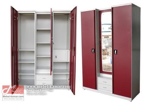 Lemari pakaian 3 pintu tengah kaca warna putih, model lemari baju minimalis 3 pintu warna putih