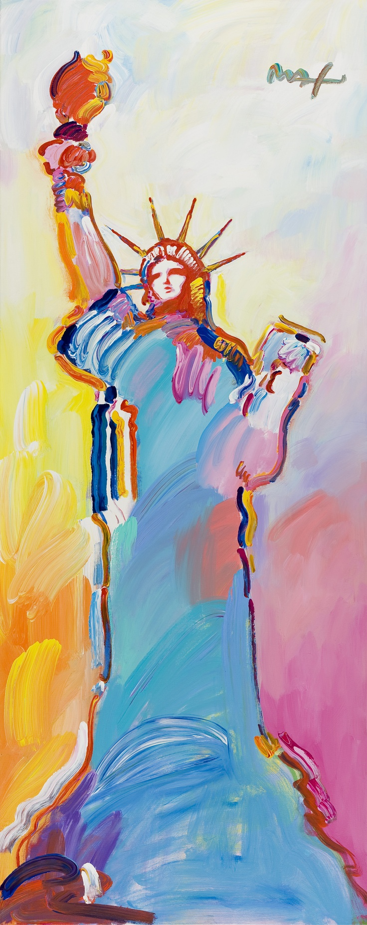 The Picaso of our era Peter Max-- this is the painting I have for the new house :) will match the chandelier perfect!