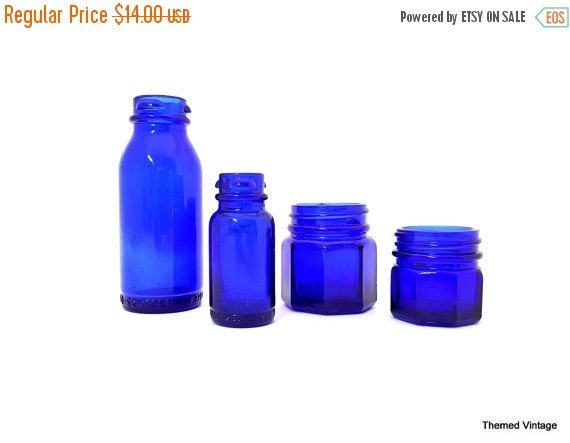 ON SALE Blue glass apothecary drug store bottle collection