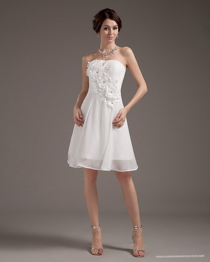 Chiffon Sleeveless Sweetheart Short Mini Wedding Dress