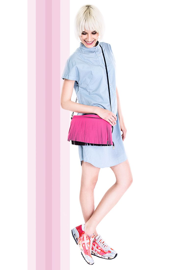 Sustainability, comfort and design in one brand #rebello #manzetti #mymanzetti #short #dress #grey #savemybag #fringed #bag #premiata #shoes #colours #futuristic #textures #shopping #fashion #trends #woman #style #clothing #store #rome