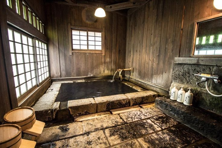 Our own onsen (or hot tub) in the traditional ryok…