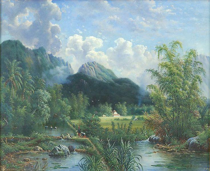 Olieverfschildering op hout voorstellend een landschap met sawah's en het Kawi gebergte achter het stationsgebouw te Malang door M.E.H.R. van den Kerkhoff, 50 x 58 cm