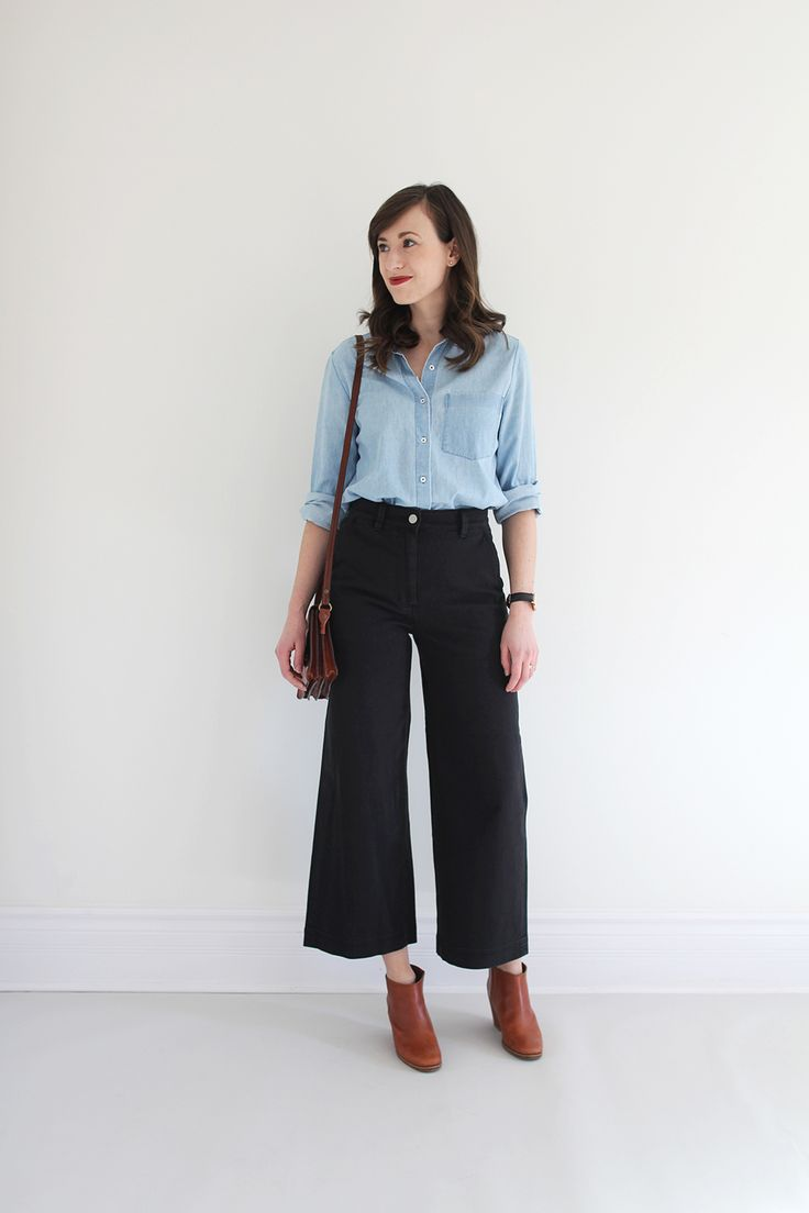 Style Bee - Everlane Wide Crop Pant - classic fits. color of the shirt is a bit muted, but i like the overall fit of this outfit.