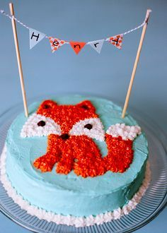 fox cake with banner... omg keeping this for future!