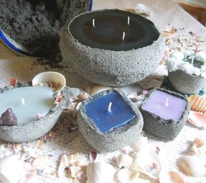 Dont need a candle holder for these candles . The sand that surrounds them dont melt it is the holder . This site tells how to make them . I like them because they look rustic and cottage style .