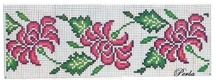 Punto de Cruz: flores variadas