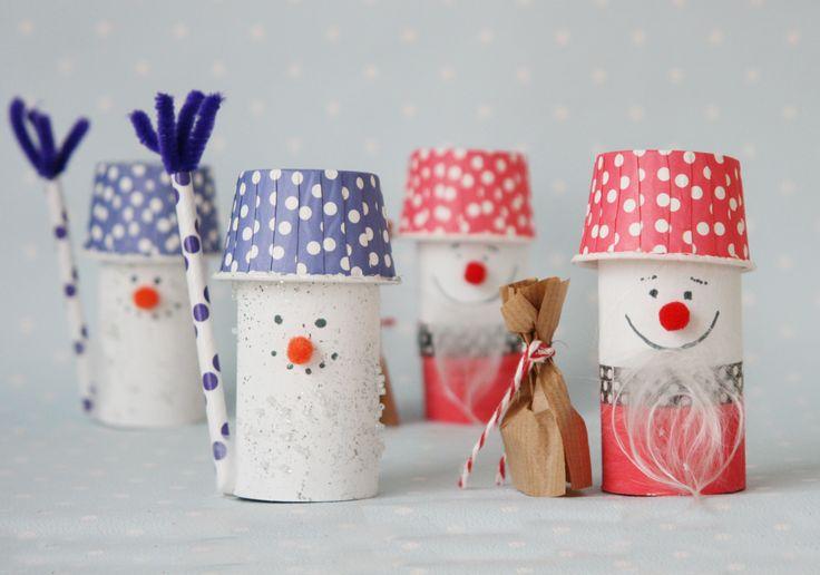 DIY Weihnachtsmann und Schneemann aus Klorolle basteln