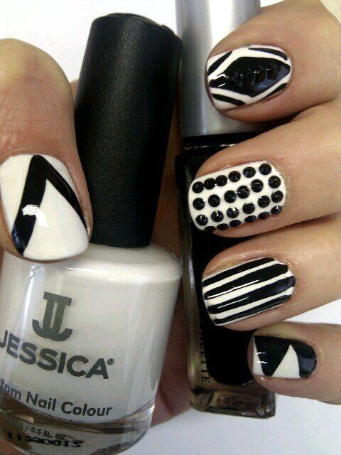 Monochrome mani using Jessica Custom Nail Colours and Jet Swarovski Elements.