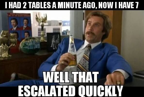 When the restaurant goes from empty to packed in one minute. | The 21 Best Server Memes On The Internet