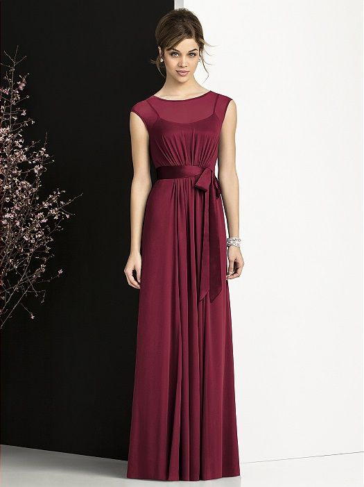 Full length cap sleeve lux chiffon dress over opulence lining slip. Slight shirring at bodice and skirt front. Opulence sash always matches dress.  http://www.dessy.com/dresses/bridesmaid/6676/