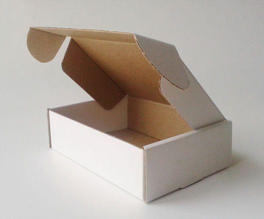 Купить Картонная коробка с откидной крышкой 10х14х4см. Заготовка - белый, упаковка, коробка, коробочка