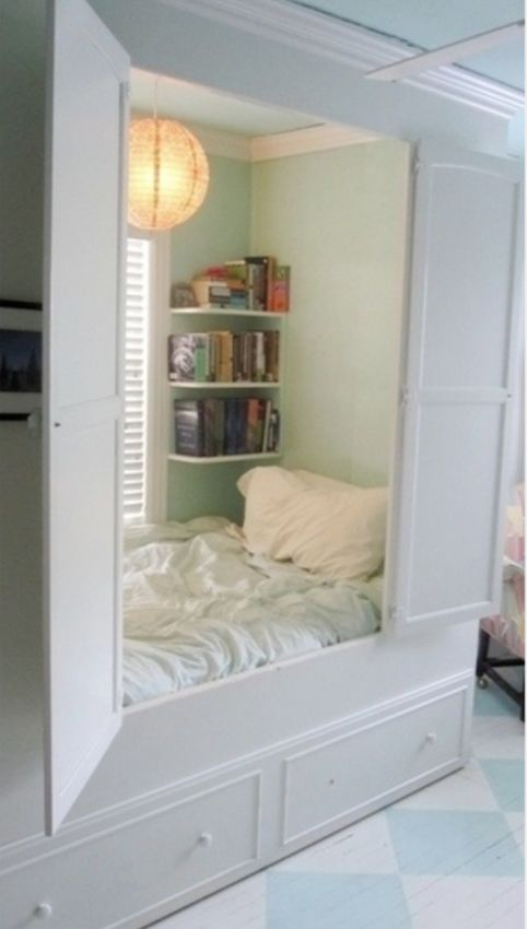 A lovely idea that will keep the room tidy and make the bed a complete hidden sanctuary.