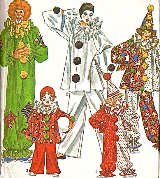 CLOWN COSTUME Sewing Pattern - Vintage Circus Clowns Mime Halloween Costumes & Hat #patterns4you