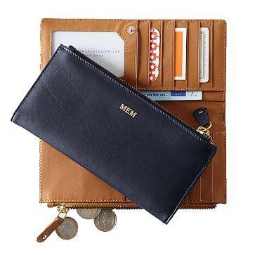 Navy or Tan Leather Skinny Wallet - Mark & Graham