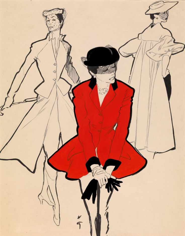 """""""The Hunting Jacket"""" - Fashion illustration by René Gruau (1909-2004), commissioned from the artist by Fleur Cowles for the magazine Flair (c. 1950)"""
