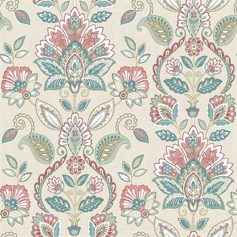 Nice Rayleigh Coral Floral Damask Wallpaper Photo