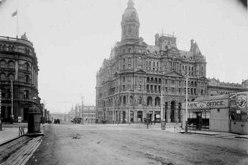 """Federal Coffee Palace at 589 Collins Street. Described by the National Trust as possibly """"the most extraordinary creation of Melbourne's land boom"""", it was built in 1888, initially operating as a temperance hotel and only serving tea and fresh milk. By the 1920's it was named the Federal Hotel and was serving alcohol, but was demolished in 1972."""