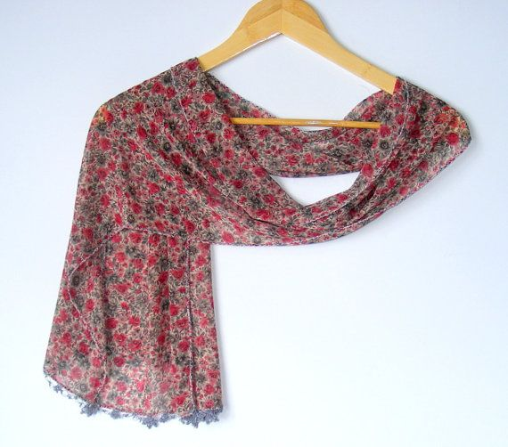 women chiffon scarves floralscarf for woman fashion by seno, $15.00