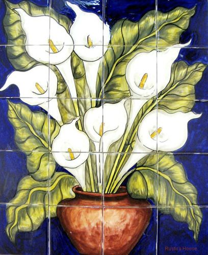 """A rustic tile mural looks pretty on a kitchen wall backsplash, bathroom wall or table-top. vase of Calla lilies mural sku 19080 is available in custom made dimensions. rustic tiles can be also installed in swimming pools, fountains and outside of the buildings Tile Mural """"Vase of Calla Lilies"""" by Rustica House. #myRustica"""