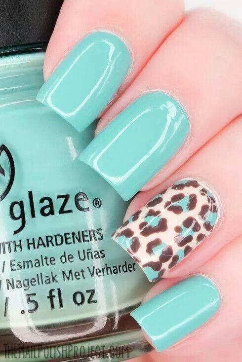 Pastel blue leopard printed nails