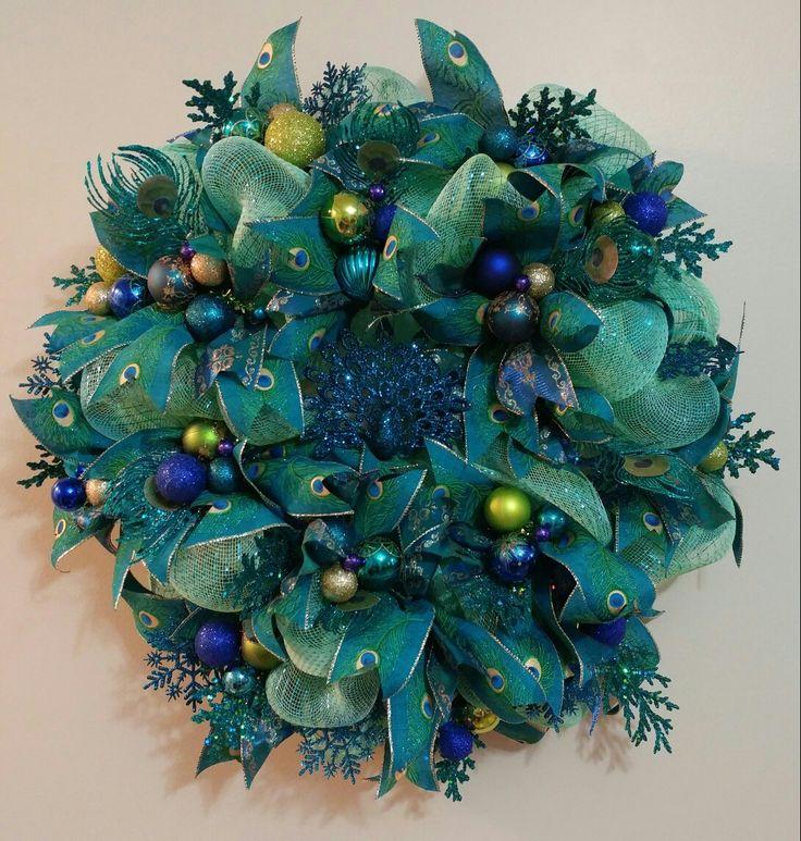 Deco mesh peacock wreath, teal, blue, lime green, gold