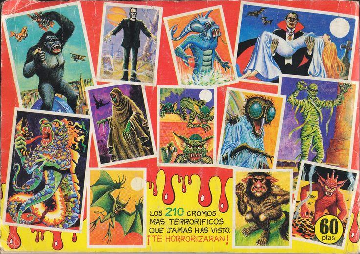 Monstruos. Una colección de 210 cromos mas terroríficos que jamás has visto, publicada en 1986 Monstruos del cine, gigantes, fantasmas, aparecidos, brujos, hechiceras, criaturas fantásticas, seres extraterrestres, super héroes y misterios inexplicables.