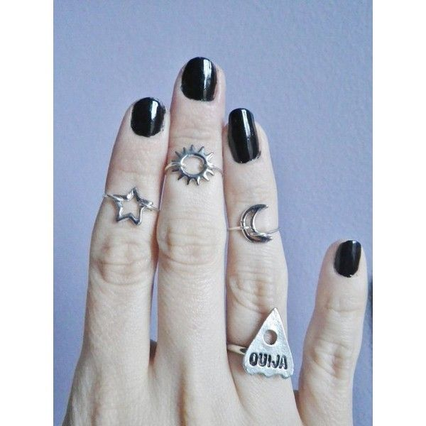 Moon ring, Regular or Midi above the knuckle ring via Polyvore featuring jewelry, rings, above the knuckle rings, above knuckle rings, mid knuckle rings and mid finger rings