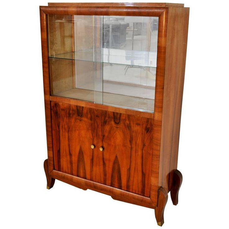 Art Deco Palisander Vitrine with Sliding Glass Doors | From a unique collection of antique and modern vitrines at https://www.1stdibs.com/furniture/storage-case-pieces/vitrines/