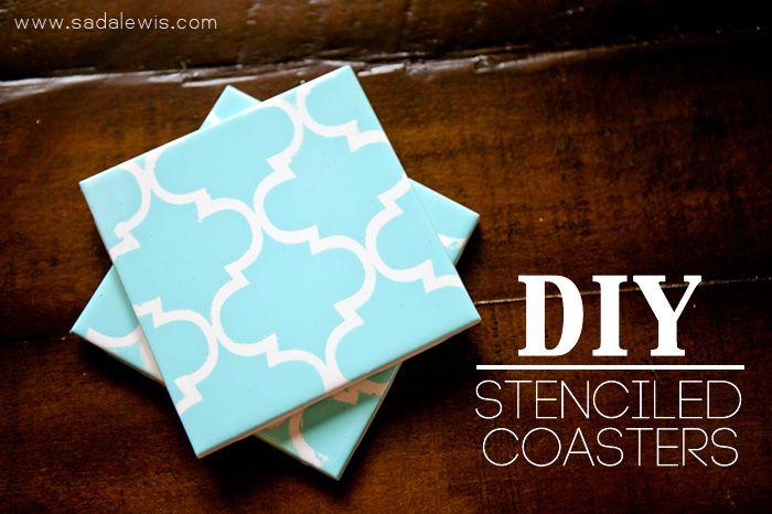 DIY Stencil Coasters...I'm going to do this. Fa Sho.