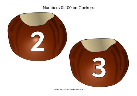 Numbers 0-100 on Conkers (SB10047) - SparkleBox