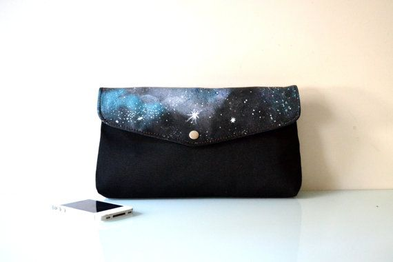 Hand Painted Galaxy Canvas Clutch Handbag by BarbaLeatherStudio
