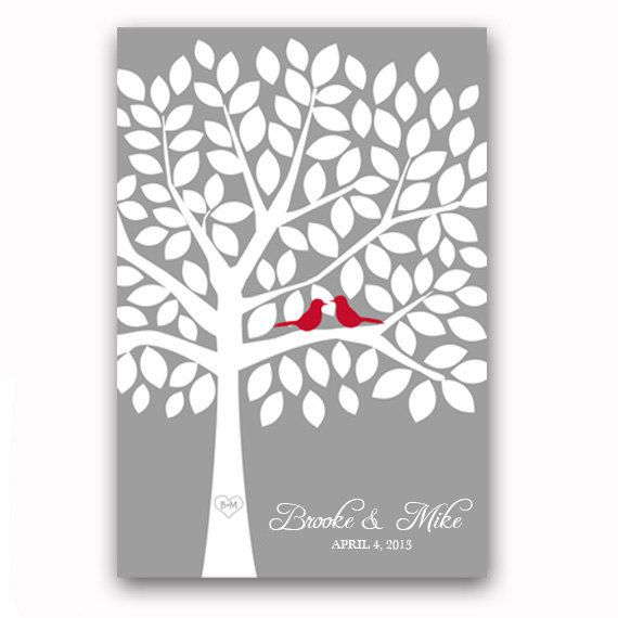Wedding Guest Book Tree Unique Guest Book Alternative Red and Silver Gray Wedding Tree with 100 Leaves Tree Print Wedding Guestbook Poster