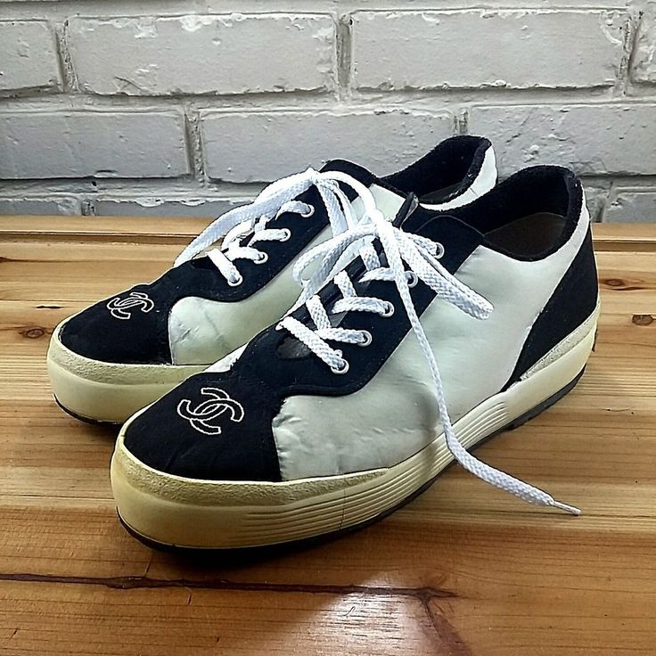 CHANEL Vintage Women's Shoes ~ Cream & Black Satin Sneakers  ~ Euro 40 US 8 M #CHANEL #Trainers