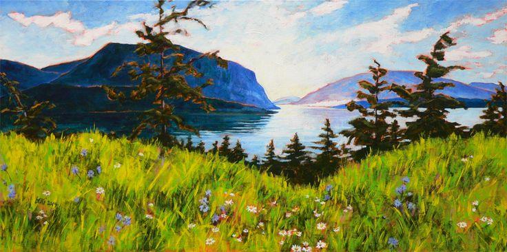 "'Summer morning on the Shuswap' 12""x 24"" acrylic on canvas"