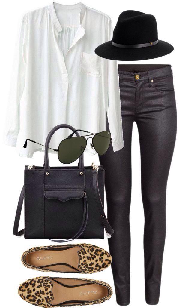 blusa blanca, pantalón de cuero negro sombrero negro y el toque zapatos animal print