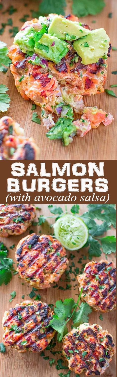This tasty and easy Salmon Burger recipe is not to be missed! Ditch the bun and serve it with mouthwatering Avocado Salsa. ❤️ http://COOKTORIA.COM