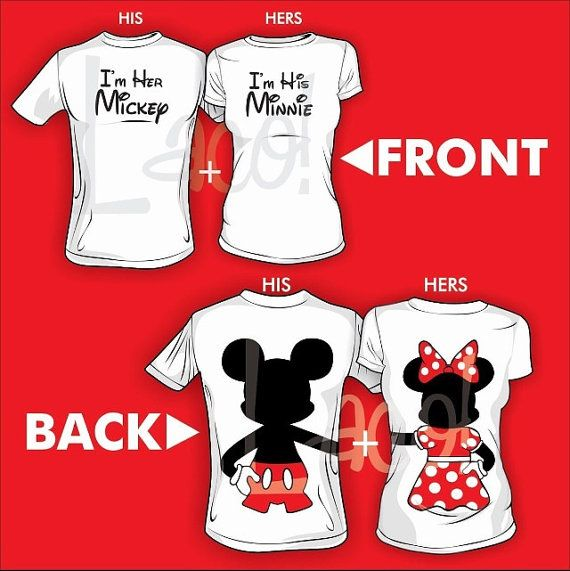 2 Front I'm her Mickey and I'm his Minnie Back Full body Hugging Disney Matching Couple Love Screenprinted White T-shirts on Etsy, $49.99