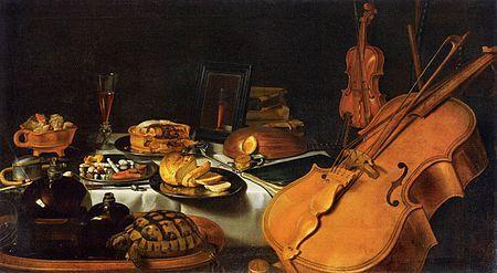 Pieter Claesz -Still Life with Musical Instruments,  1623.