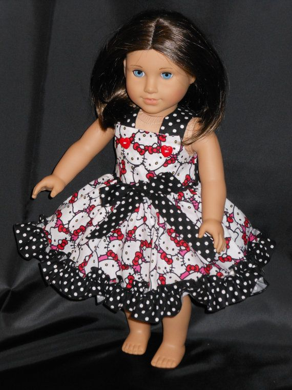 Hello Kitty платье American Girl куклы Hello по MyPrincessandHerDoll