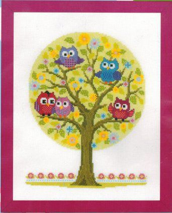 Owl Family Tree - Cross Stitch Kit
